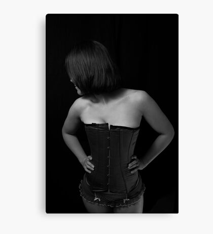 Shy Girl in a Corset Canvas Print