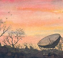 Sunset at Jodrell Bank by Mike HobsoN