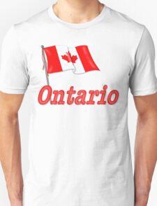Canada Waving Flag - Ontario T-Shirt