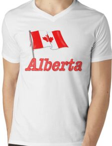 Canada Waving Flag - Alberta Mens V-Neck T-Shirt