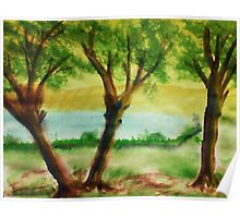 Lets Picnic under these trees by the lake, watercolor Poster