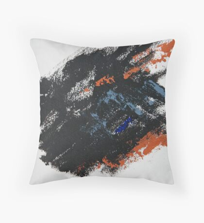 Rita-T, Abstract Painting, Black-BlueGray-Orange Throw Pillow