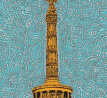 Siegessäule Drawing Meditation - Blue by kpdesign