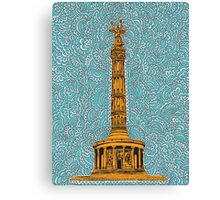 Siegessäule Drawing Meditation - Blue Canvas Print