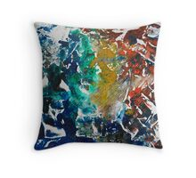 Rita-T, Abstract Painting, Blue, Turquoise, Red Throw Pillow