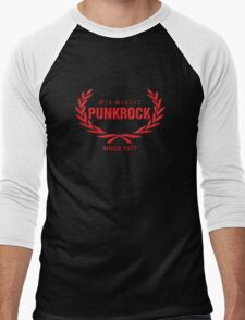 Old School PUNKROCK Since 1977 (in red) Men's Baseball ¾ T-Shirt