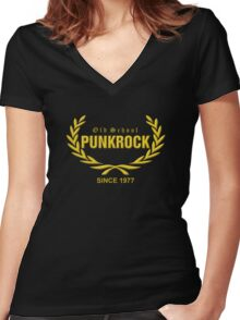Old School PUNKROCK Since 1977 (in Gold) Women's Fitted V-Neck T-Shirt