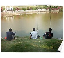 three buddies enjoying a day of fishing Poster