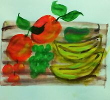 Cutting board loaded with fruit, watercolor by Anna  Lewis