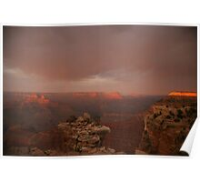 Sunset and rainbow in the Grand Canyon. Poster