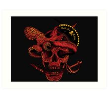 Skull, Sword, And the Fishes Art Print