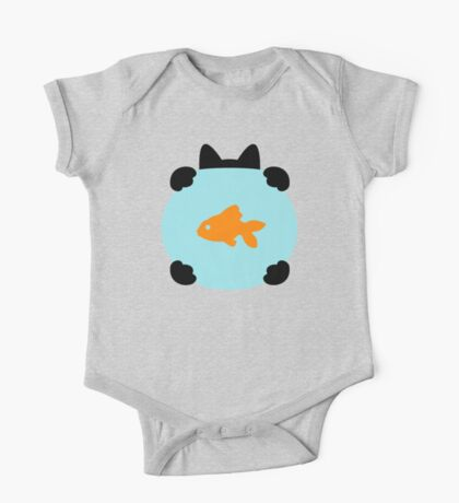 Fishbowl and a Cat Pattern One Piece - Short Sleeve