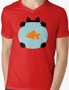 Fishbowl and a Cat Pattern Mens V-Neck T-Shirt