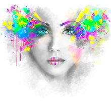 Multicolored abstractn Woman Beautiful portrait illustration by Alena Lazareva