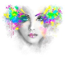 Multicolored abstractn Woman Beautiful portrait illustration Photographic Print