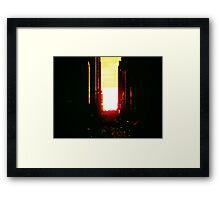 Manhattanhenge Sunset in New York City Looking Down 42nd Street Framed Print