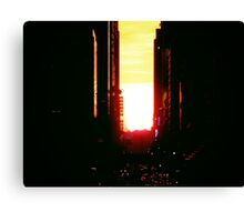 Manhattanhenge Sunset in New York City Looking Down 42nd Street Canvas Print