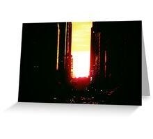 Manhattanhenge Sunset in New York City Looking Down 42nd Street Greeting Card