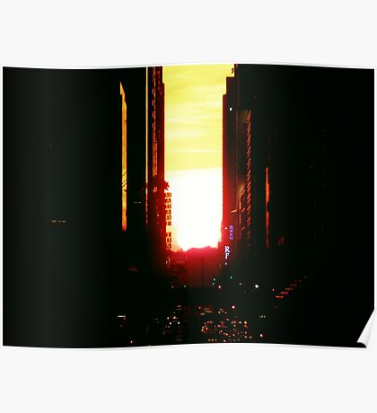 Manhattanhenge Sunset in New York City Looking Down 42nd Street Poster