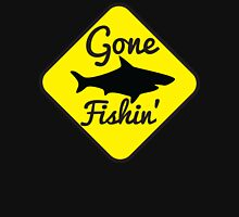 Gone Fishing yellow sign with a shark T-Shirt