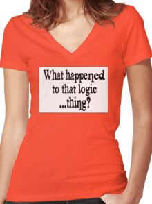 Where'd that Logic thing go? Women's Fitted V-Neck T-Shirt