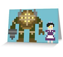 8-Bit Big Daddy & Little Sister Greeting Card