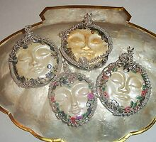 Moon Face and Goddess Pendants by ValZ