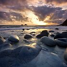 Cornwall : Porth Nanven Sunset 1 by Angie Latham