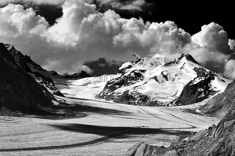 Clouds over the Aletsch Glacier by neil harrison