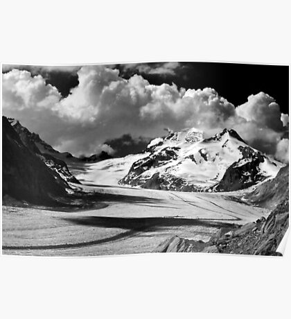 Clouds over the Aletsch Glacier Poster