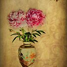 Peonies in a vase. by Irene  Burdell