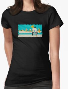 On The Beach - Yellow Shoes, acrylic painting Womens Fitted T-Shirt