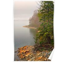 Coastline in Fog, Blue Hill Peninsula, Maine Poster