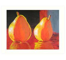 Flaming Pears Art Print
