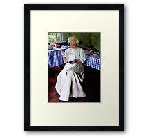 Grandma Sewing Framed Print
