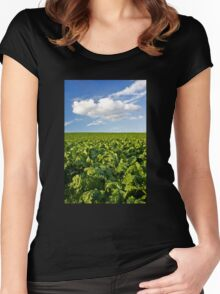 Green and Blue Women's Fitted Scoop T-Shirt