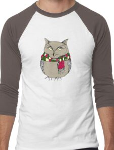 Funny owl in a colorful scarf. Men's Baseball ¾ T-Shirt