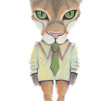 Funny lynx in a suit and tie. Hipster lynx. Lynx boss. by Polanika