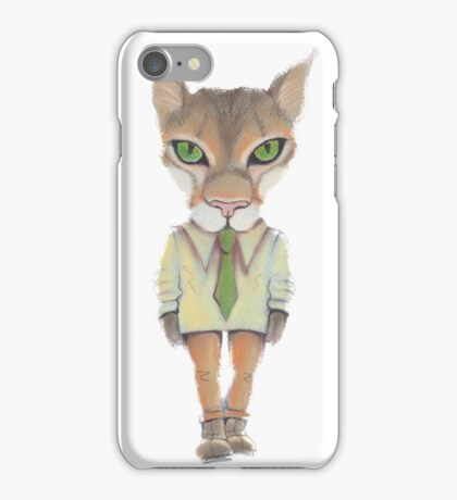 Funny lynx in a suit and tie. Hipster lynx. Lynx boss. iPhone Case/Skin