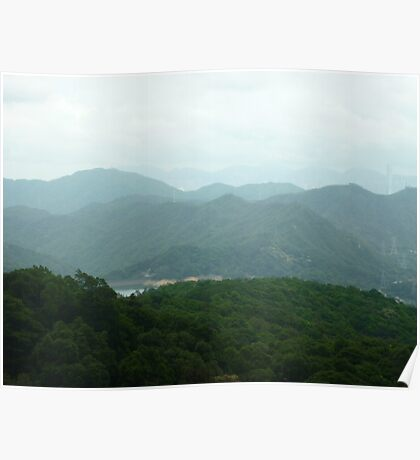 towering waves of jungle mountains wth threatening rainclouds drifting by Poster
