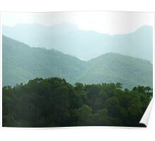 waves of lushgreen jungle mountains Poster