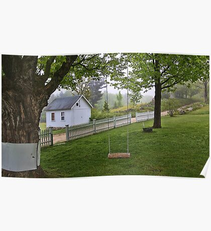 Rural Maine -- Dirt Roads and White Picket Fences Poster