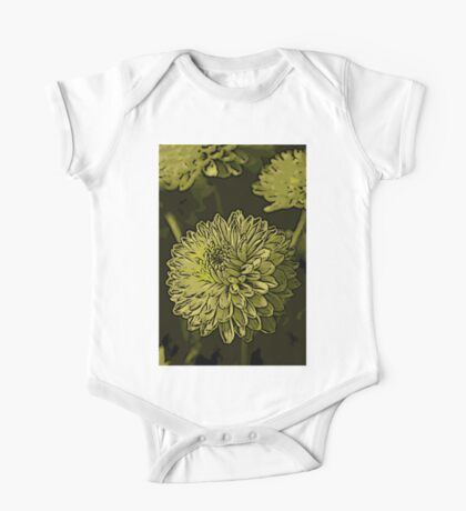Green Chrysanthanum Woodcut One Piece - Short Sleeve