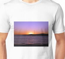 Paros Island, Greece - Sunset Behind Boat Unisex T-Shirt