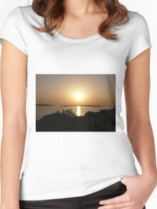 Paros Island, Greece - At Day's End Sunset Women's Fitted Scoop T-Shirt
