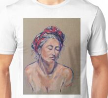 The red scarf. Oil on linen on board 51x41cm Unisex T-Shirt