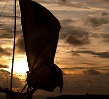 Catamaran at sunset by liza1880