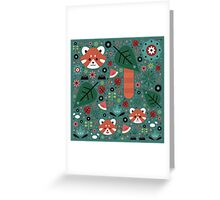 Red Panda & Cubs Greeting Card
