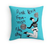 Bikini Kill Punk Rock Feminism Rules Okay! Throw Pillow
