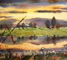 The river at sunset by Stefano Popovski